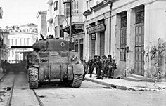 British paratroopers advance behind a Sherman tank during fighting in Athens, Greece, December 1944 South East Europe, British Armed Forces, Sherman Tank, Greek History, Ww2 Tanks, Paratrooper, Military History, World War Ii, Military Vehicles