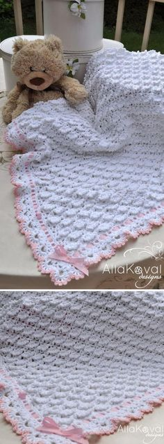 Beautifull Free Baby Blanket Crochet Pattern (with 30 more to choose from) ❥