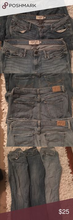 Women's Abercrombie jean set- size 4S 3 pairs of 4S Abercrombie women's jeans. Bought these for my niece before her growth spurt... She wore them a few times, but no rips, tears, stains, frayed bottoms, etc. Light, medium, and darker wash. They retail for about $80 plus a piece. Would like to get rid of them as a set :-)   Asking $25 OBO. $10 a pair if separate. Abercrombie & Fitch Jeans Boot Cut