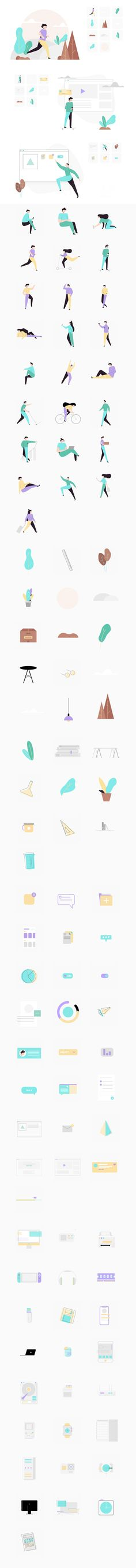 Peach - 100+ Free Illustration System - uistore.design Flat Design Illustration, Free Illustrations, 100 Free, Peach, Bullet Journal, Illustrator, Learning, Store, Studying