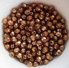 25 6mm Czech glass beads Lumi Brown by GloriousGlassBeads on Etsy