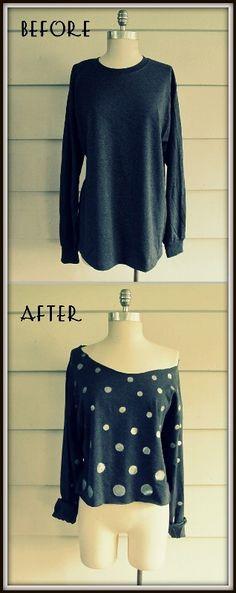 DIY Polka Dot, Cropped Shirt
