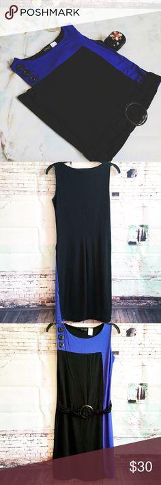 "VENUS Colorblock Dress, Size Small VENUS Colorblock Dress, Size Small Striking black and blue Colorblock dress with belted dropwaist.   Chest measures 17.5 when stretched.  36"" long.  EUC VENUS Dresses"