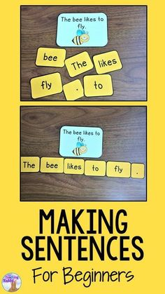Making Sentences with Beginners Teach your kindergarten students how to begin making simple sentences! p Making Sentences with Beginners Teach your kindergarten students how to begin making simple sentences sentences makingsentences sentencebuilding kinde Kindergarten Lesson Plans, Kindergarten Centers, Kindergarten Classroom, Kindergarten Language Arts, Beginning Kindergarten, Kindergarten Writing Activities, Daycare Curriculum, Preschool Worksheets, Preschool Crafts