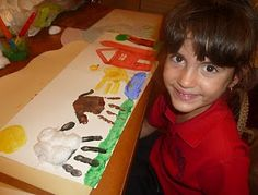The Big Red Barn (book) and Handprint Farm Animal Art.. Great Idea for a Theme related activity