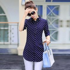 New Fashion Print Blouses Women Long Style Shirts 2018 Cotton Ladies Tops Long Sleeve Blusas Femininas Plus Size Women Clothing – 2019 - Cotton Diy Ärmelloser Pullover, Pullover Outfit, Dress With Jean Jacket, Chiffon Shirt, Plus Size Womens Clothing, Size Clothing, Plus Size Blouses, Casual Tops, Casual Shirt