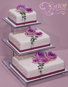 Pretty Wedding Cakes, Wedding Cake Stands, Wedding Cake Designs, Cake Decorating Techniques, Cake Decorating Tips, Pink Princess Cakes, Bolo Floral, Tooth Cake, Fondant Wedding Cakes