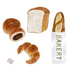 aiko fukawaさんはInstagramを利用しています:「あんぱん•食パン•クロワッサン•フランスパン」 Illustration Sketches, Food Illustrations, Watercolor Illustration, Graphic Illustration, Food Drawing, Food Diary, Cute Food, Cute Drawings, Cute Art