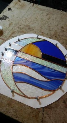 Crescent Moon Beach Scene, Art Deco stained glass round panel