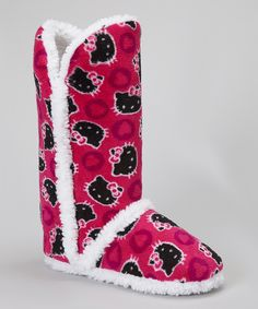 e369f3806d2c Hello Kitty meets hello comfort in these oh-so cozy slippers. A fun heart  print and sweet faces adorn the boot