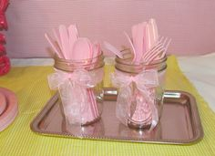 cute - silver platter, mason jars with pink tulle bow, pink plasticware | I did this with pink ribbon and blue plasticware. Cute!