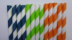 Mixed- Lime Green Orange Navy Blue Striped Paper Straws would work great for the robot party Dinosaur Train Party, Dinosaur Birthday Party, Toy Story Birthday, Toy Story Party, Baby Birthday, Birthday Ideas, Dinosaur Party Supplies, To Infinity And Beyond, Green And Orange