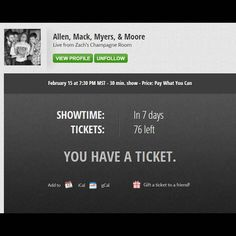 The 100 tickets released for the sold out #AMMM Stage It show are now on sale! You don't want to miss out! Link for tickets: https://www.stageit.com/allen_mack_myers_moore/live_from_zach_s_champagne_room/53260