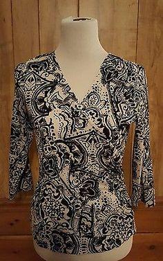 COLDWATER CREEK XS Black White Faux Wrap Stretch Shirt NWOT