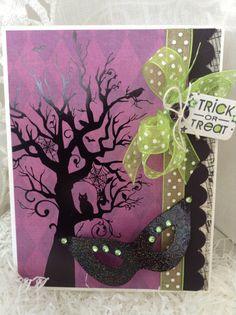 Halloween Card - Vintage- Style Halloween - Handmade Halloween - Shabby Chic Halloween Card
