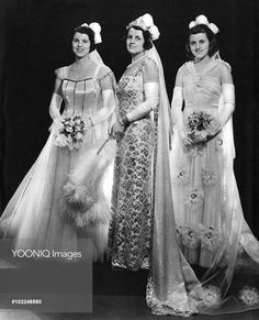 Mrs Joseph Kennedy, wife of H.E. the United States Ambassador, in a photograph to mark the presentation of two of her daughters at the first court at Buckingham Palace in May 1938. On the left is Rosemary Kennedy (1918 - 2005), in the middle Rose Kennedy and on the right, Kathleen 'Kick' Kennedy. Kathleen met Billy Cavendish, heir to the Devonshire dukedom during the Season and married him becoming Marchioness of Hartington. He was killed during World War II and Kathleen herself was killed…