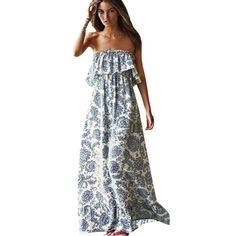 2018 new sexy off shoulder long maxi xl dress women boho evening beach sundress vestidos print ankle-length strapless dress Women's Dresses, Blue Dresses, Dress Outfits, Casual Dresses, Summer Dresses, Summer Maxi, Beach Dresses, Evening Dresses, Floral Dresses