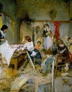 """Ettore Tito (Italian, 1859 - 1941) """"Dressmakers"""" - oil"""