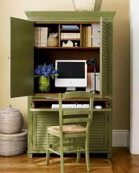 Love the armoire office... and the color!