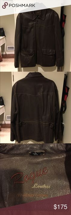 Men's Rogue by Riley Olmes Brown Leather Jacket Brown leather jacket with collared neck line. Contained two front pockets and zipper closure. Previously worn with some distress as pictured but in great condition! Open to reasonable offers through feature. Great look for fall or winter! rogue by riley olmes  Jackets & Coats