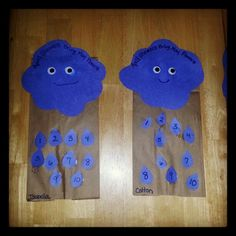 Mr. Cloud Puppets... April showers bring May Flowers..Counting Raindrops for preschool craft project