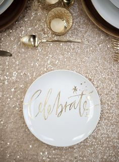 Photography : Justin Marantz Read More on SMP: http://www.stylemepretty.com/living/2015/11/04/metallic-party-moments-to-try/ -- like the gold votive holder and a gold/champagne sparkly tablecloth (could use a lace tablecloth over gold thin vinyl tablecloth or a gold lace over a white or silver thin vinyl tablecloth)
