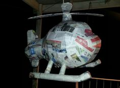Helicopter piñata in progress. Made for a first birthday.