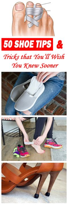 These 50 shoe tips and tricks will make your shoes so much more comfortable - you'll wish you knew them sooner! Use these hacks and your feet will surely thank you. Whether you are wearing heels, flats, or sneakers, these shoe tips and tricks are super ni Makeup Tricks, Fru Fru, Moda Emo, Simple Life Hacks, Clothing Hacks, Feet Care, Your Shoes, Just In Case, Health And Beauty