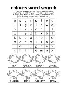 Colour the splat with the correct colour, then find the word in the word search puzzle. This resource comes with a single user license and may not be reproduced, resold, redistributed or altered in any form. Back To School Worksheets, English Worksheets For Kids, English Lessons For Kids, Learn English Words, Cvc Worksheets, French Lessons, Spanish Lessons, Science Word Search, Easy Word Search