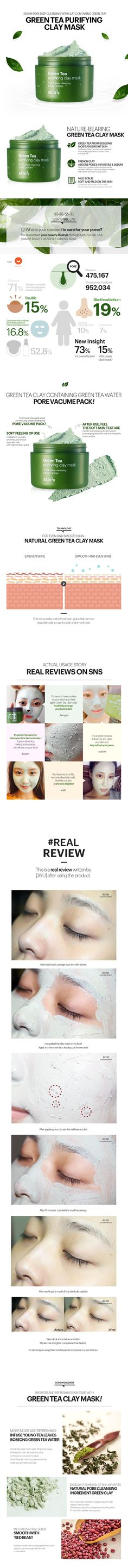 Skin 79 Green Tea Purifying Clay Mask contains mud to absorb sebum. Green tea is used to improve the dryness of the clay and feel moist after use. Softly care for dead skin cells with natural scrub ingredient of Red Bean grains.
