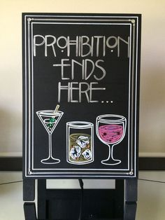 Art Deco-Roaring Twenties-Vintage-Great Gatsby Wedding- Prohibition Ends Here Quote Sign. Wow Your Guests with this Handpainted Crystal Sign Art Deco-Roaring Twenties-Vintage-Great Gatsby Wedding- Prohibition Ends Here… Prohibition Party, Speakeasy Party, Gatsby Themed Party, Great Gatsby Theme, Great Gatsby Wedding, Art Deco Wedding, Prohibition Ends, Trendy Wedding, Wedding Ideas