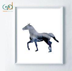 Blue horse printable art harmony peace symbol by SagaciousDesign