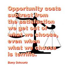 Opportunity costs subtract from the satisfaction we get out of what we choose, even when what we choose is terrific. Barry Schwartz