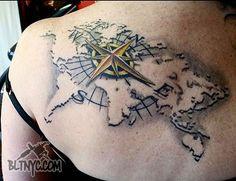 World Map 3D Compass Tattoo by Rain at BLTNYC Tattoo Shop Queens #worldmap…