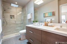 Contemporary 3/4 Bathroom with Limestone, European Cabinets, High ceiling, Skylight, Double sink, Flush, Handheld Shower Head