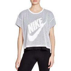 Nike Crop Mesh Tee ($50) ❤ liked on Polyvore featuring tops, t-shirts, white, crop tee, white crop t shirt, white tops, white tees and nike t shirts