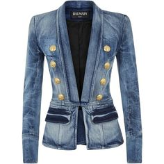 Balmain Denim Blazer (16852230 PYG) ❤ liked on Polyvore featuring outerwear, jackets, blazers, coats, tops, blue shawl, balmain blazer, denim blazer, balmain and shawl jacket