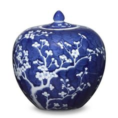 Discover Williams-Sonoma Home's decorative ginger jars and more for classic blue and white decor. Shop luxury vases and more that are functional and versatile for any space. White Plum, Blue And White China, Decoration Baroque, White Cherry Blossom, Keramik Vase, Decorated Jars, White Home Decor, Ginger Jars, Vases Decor