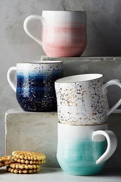 These ombre + gold-flecked mugs take your morning cup of joe to a whole new level.