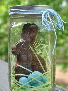 Easter bunny in a jar. What a cute gift idea! chocolate bunny, edible grass (could use coconut), robin's eggs malt balls, mason jar. (good way to package chocolate bunny so you can include it in the egg hunt. Hoppy Easter, Easter Bunny, Easter Eggs, Easter Table, Easter Gift, Easter Decor, Easter Food, Easter Centerpiece, Easter Stuff