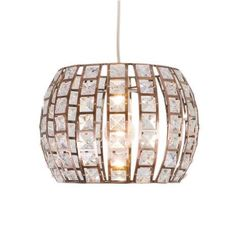 Featuring a curved metal construction and embellished with crystals, this ceiling light pendant is designed with an elegant copper finish....