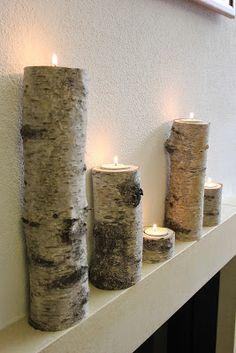 Teelichthalter Kerzenständer aus Birke Baumstamm