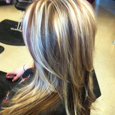 Absolutely gorgeously layered blonde and honey coloured highlights with brownish lowlights. L鈾e it!