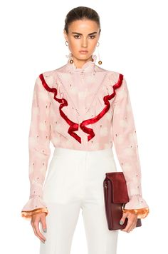 Image 1 of Stella McCartney Swan Print Shirt in Dusted Pink