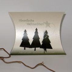Geschenkverpackung: Kissenschachtel aus edlem Metallickarton für Weihnachten mit Tannenbäumen Bestellbar in 3 Größen.