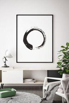 Contemporary Art, Brush Stroke Circle Print, Black White Abstract Wall Art, Scandinavian, Printable Modern Minimal Ink Painting, Home Decor