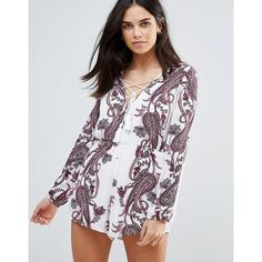 Love & Other Things Paisley Print Tie Front Romper (44 CAD) ❤ liked on Polyvore featuring jumpsuits, rompers, blue, blue romper, cotton rompers, cotton romper, playsuit romper and tie front romper