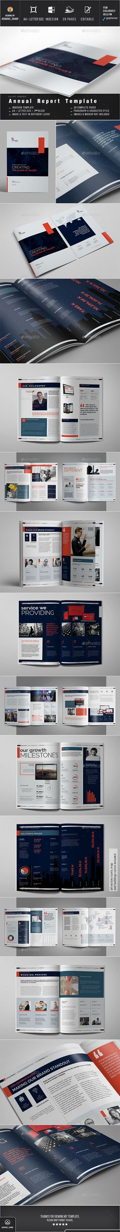 Annual Report by ashuras_sharif Annual Report Template are 28 Pages, Two Different Sizes A4 and US Letter. All units and text are Layered to customize Easily. Als