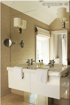 Great Vanity and mirror behind.