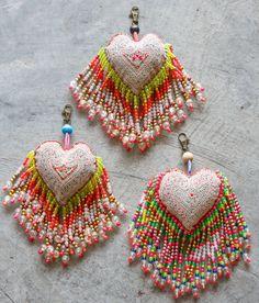 Hmong Tibet Heart Key Chain Long Beads Tails/Key ring/ Key chain/Ethnic/Accessories( L Size )/Whole Sale Saree Tassels Designs, Saree Kuchu Designs, Beaded Embroidery, Hand Embroidery, Embroidery Designs, Fabric Beads, Fabric Jewelry, Hand Designs, Bead Art